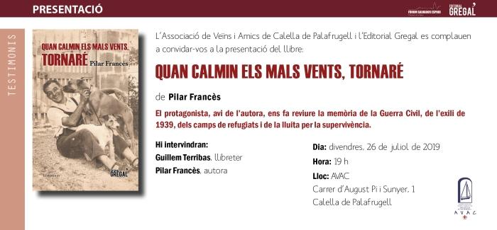 Invitació QUAN CALMIN ELS MALS VENTS, TORNARÉ_Calella de palafrugell